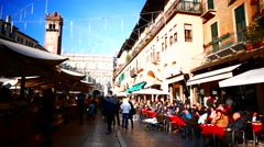 Stock Video Footage of 4K FHD Verona old town Piazza delle Erbe market restaurant Italy Veneto