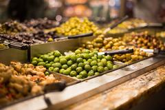 Olives on sale/display in a food market/grocery store Kuvituskuvat