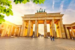 Brandenburg gate at sunset Stock Photos