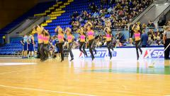 Cheerleader group dancing, F4 Final Basketball championship in Kiev, Ukraine. Stock Footage