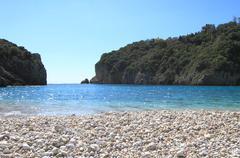 Paleokastritsa beach of Corfu island, Greece - stock photo