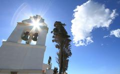 Belfry tower of Vlacherna monastery - stock photo