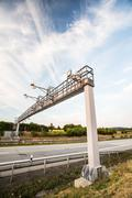 Toll gate on a highway - stock photo