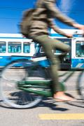 City transportation concept - commuting methods - on bike, by ca Stock Photos