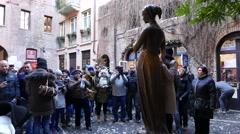 4K FHD Verona old town Juliet House statue Wall balcony Italy Veneto - stock footage