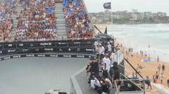 Crowd witness high air at skateboard comp - stock footage
