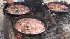 Cooking lamb chops cast iron pots over camp fire 4K 014 Stock Footage