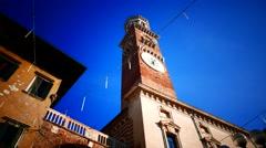 4K FHD Verona Piazza delle Erbe Torre dei Lamberti Italy Veneto - stock footage