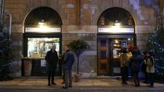 4K FHD Verona old town people drink smoke outside a bar Italy Veneto Stock Footage