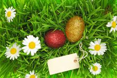 Green grass with Easter glittering eggs and label Stock Photos
