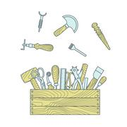 Leather craft tools in toolbox vector illustration - stock illustration