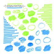Set of blue and green fluorescent highlighter marks Stock Illustration