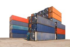 Stack of Cargo Containers isolated on white background with clipping path Stock Photos