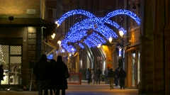 4K FHD Bologna old town Piazza Maggiore Main square Christmas lights decoration Stock Footage