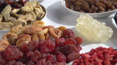Oriental Sweets, different kinds of nuts and dried fruit Stock Footage