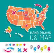 Hand drawn US map vector illustration - stock illustration
