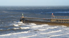 Whitby jetty Stock Footage