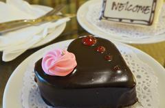 Close up chocolate cake as heart Stock Photos