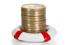 Close-up Of Euro Coins Stacked In Lifebelt - stock photo
