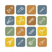 Linear renovation tools flat icons - stock illustration
