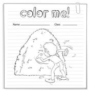 Coloring worksheet with a boy looking at the haystack - stock illustration