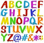 Rainbow coloured letters of the alphabet Stock Illustration