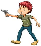 Boy holding a gun Stock Illustration