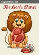 Stock Illustration of English idiom showing a lion