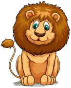 Behaved brown lion Piirros