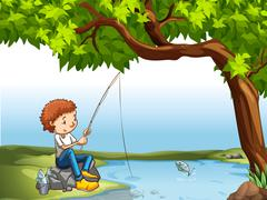 Stock Illustration of Boy at the river