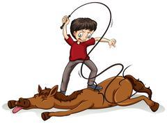 Man beating the horse Stock Illustration