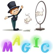 Magician showing his tricks - stock illustration
