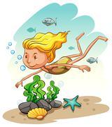 Girl enjoying underwater Stock Illustration