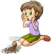 Girl spilling the beans Stock Illustration