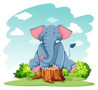 Elephant above the trunk - stock illustration