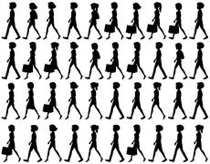 Silhouette of people walking - stock illustration