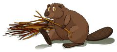 Beaver holding a stick - stock illustration
