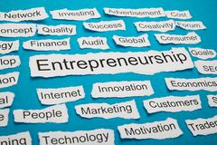 Word Entrepreneurship On Piece Of Paper Salient Among Other Related Keywords Stock Photos