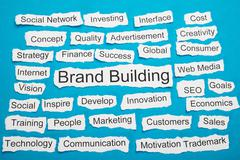 Word Brand Building On Piece Of Paper Salient Among Other Related Keywords - stock photo