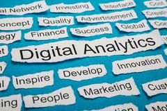 Word Digital Analytics On Piece Of Paper Salient Among Other Related Keywords - stock photo