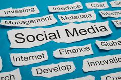 Social Media Text On Piece Of Paper Salient Among Other Related Keywords - stock photo