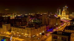 MOSCOW - (Timelapse) Night traffic ground view of Novy Arbat Stock Footage