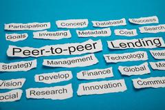 Peer-to-peer And Lending Text On Piece Of Torn Paper - stock photo