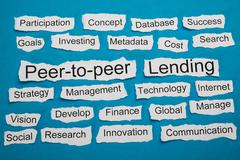 Peer-to-peer And Lending Text On Piece Of Torn Paper Stock Photos