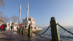 Banisters and Grand Imperial, Ortakoy, Mecidiye Mosque on sunset Stock Footage