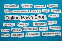 Online Pawn Shop Text On Piece Of Paper Salient Among Other Related Keywords - stock photo