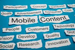 Mobile Content Text On Piece Of Paper Salient Among Other Related Keywords - stock photo
