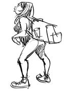 Female  Student  With  Backpack - stock illustration