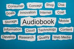 Word Audiobook On Piece Of Paper Salient Among Other Related Keywords - stock photo
