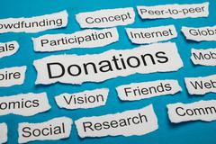 Word Donations On Piece Of Paper Salient Among Other Related Keywords - stock photo